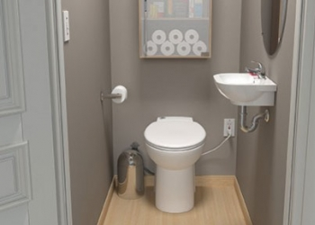 Compact, Dual-Flush SANICOMPACT® Saves Water, Turns Tight Spaces into New Powder Rooms